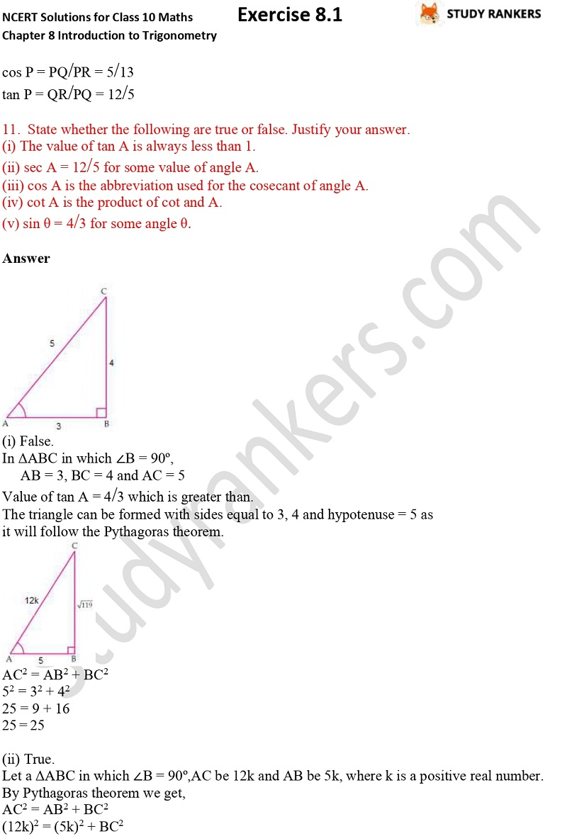 NCERT Solutions for Class 10 Maths Chapter 8 Introduction To Trigonometry Exercise 8.1 Part 7