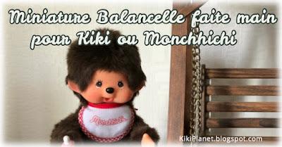 kiki Monchhichi balancelle miniature meuble poupée doll handmade fait main