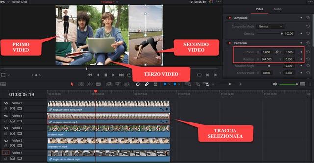 posizionamento dei video in uno schermo con davinci resolve