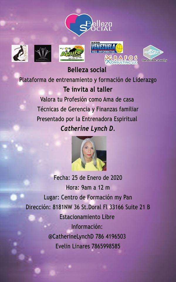 """TALLER:  """"Técnicas de Gerencia y Finanzas Familiar"""" para sábado 25 de enero en  Doral-EE.UU organizado por Belleza Social."""