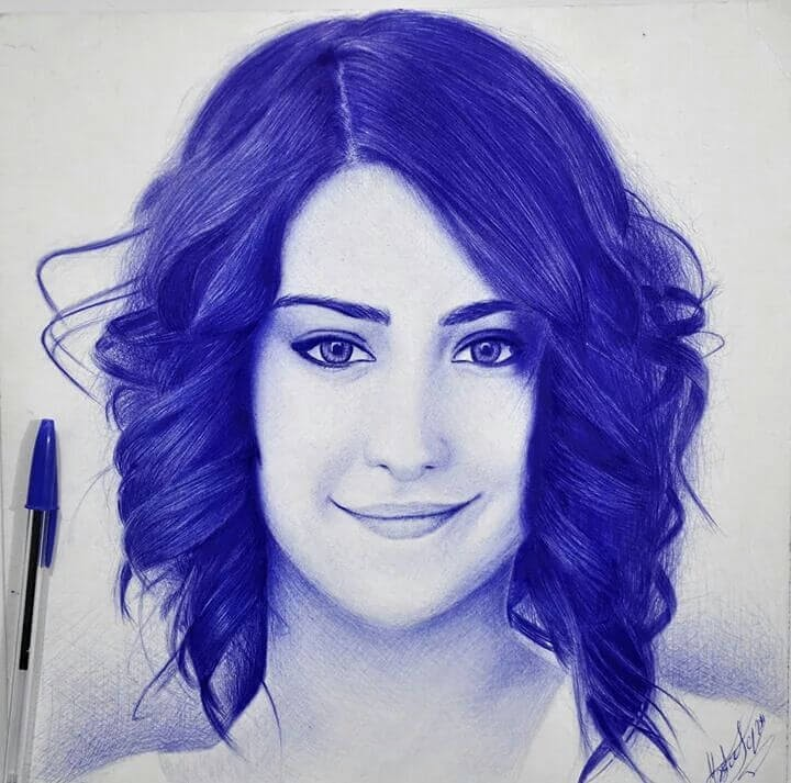 03-Hazal-Kaya-Mostafa-Khodeir-Celebrities-and-Non-Ballpoint-Pen-Portraits-www-designstack-co