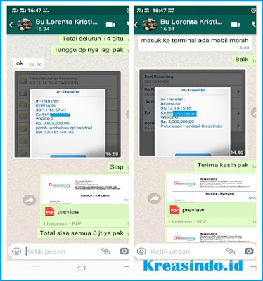 Handrail Kloset pesanan Bu Lorenta Kristina di Pinang Ranti Jakarta Timur