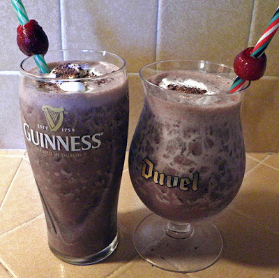 Two Beer Glasses Filled with Black Forest Shakes