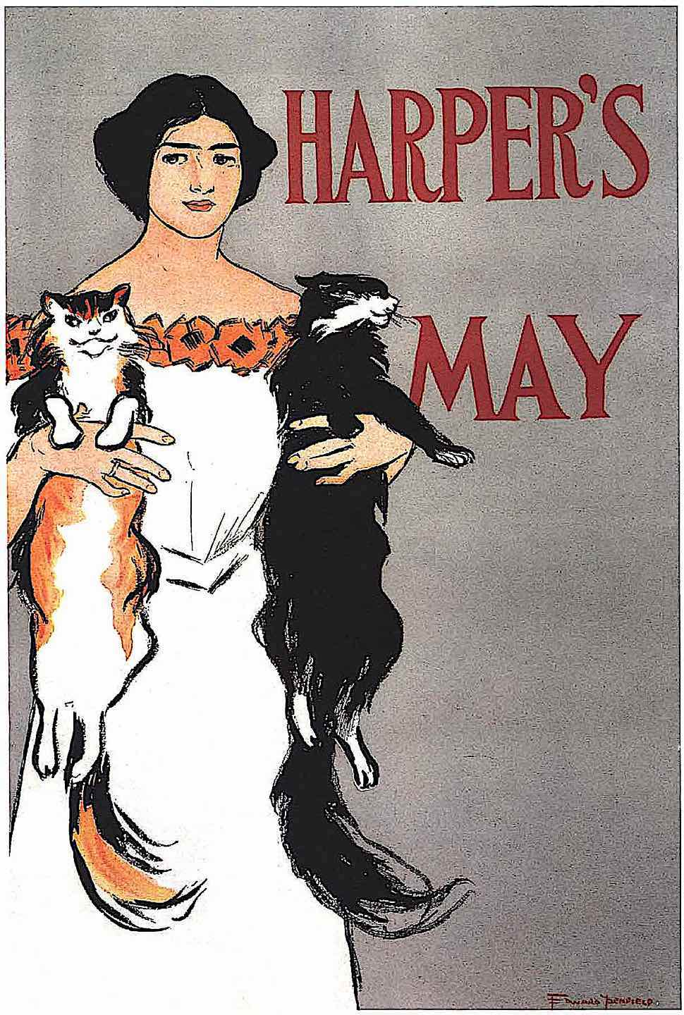 an Edward Penfield 1890s May illustration for HARPERS Magazine, a woman holding two large cats