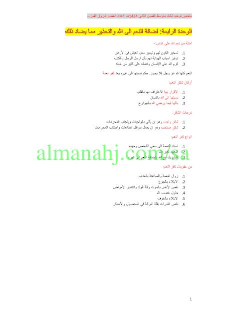 ملخص التوحيد للعام 1434 هـ الصف الثالث المتوسط التوحيد الفصل الثاني المناهج السعودية