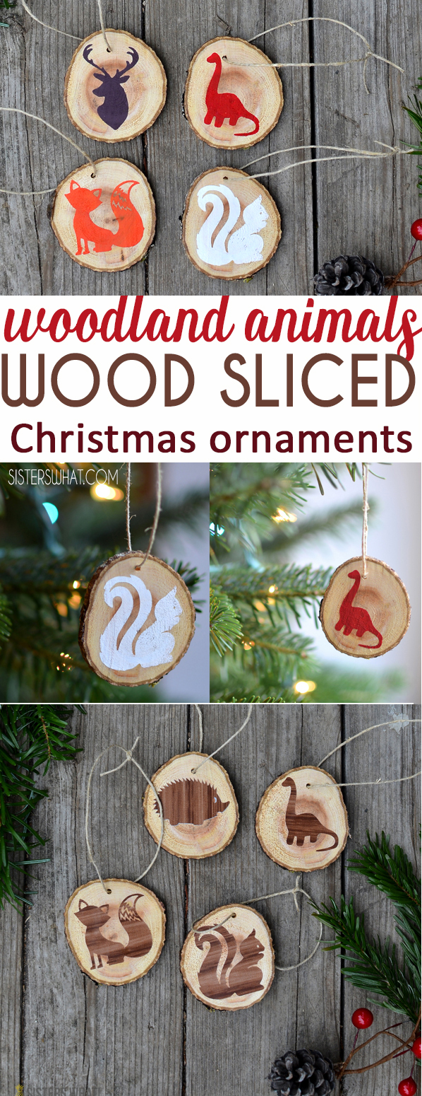 DIY crafty Woodland animal wood sliced Christmas ornaments
