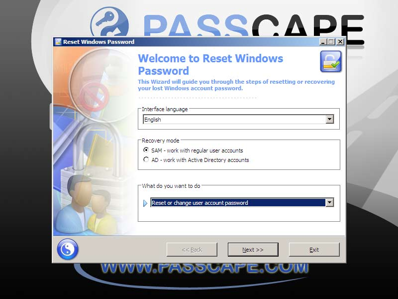 reset password windows dengan passcape