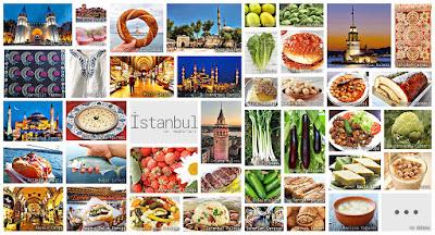 İstanbul'un meşhur şeylerini gösteren resimlerden oluşan kolaj