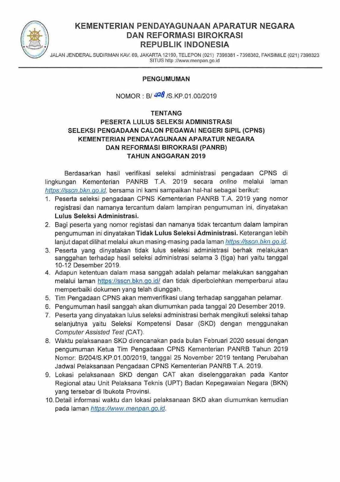 Hasil Seleksi Administrasi Pengadaan CPNS Kementerian Pendayagunaan Aparatur Negara Dan Reformasi Birokrasi (PANRB) Tahun Anggaran 2019