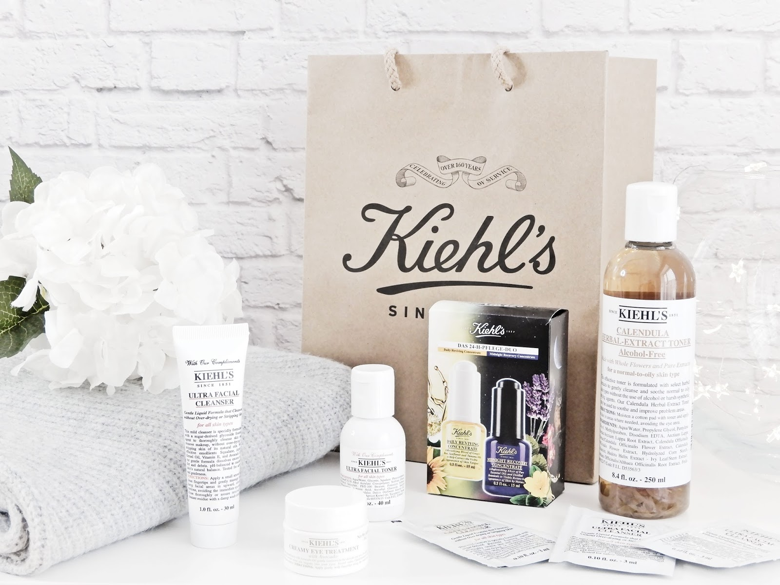 Kiehls serum na noc midnight recovery concentrate, Kiehls serum na dzień daily reviving concentrate, Kiehls krem pod oczy creamy eye treatment with avocado, Kiehls tonik calendula herbal extract alcohol-free toner, Kiehls ultra facial tonik i żel do mycia twarzy,