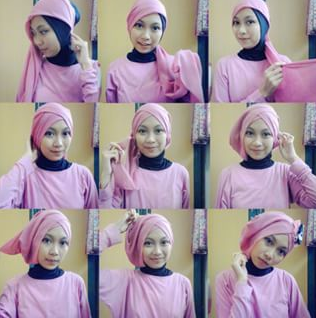 Tutorial Hijab Turban Segi Empat Modern Gaya #5 Drappery Sweet
