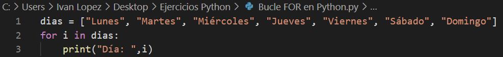 Bucle FOR en Python Ejemplo de uso