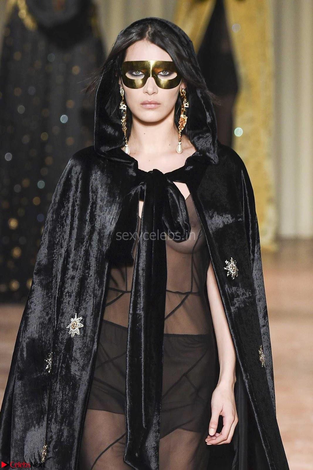 Bella Hadid Exposing her Beautiful Erect Nipples at Alberta Ferretti Fall 2017 Fashion Show in Milan