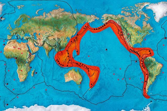 El Cinturón de Fuego o Anillo del Fuego del Pacífico es una de las zonas de mayor sismicidad del planeta, concentrando el 90% de la actividad sísmica del planeta