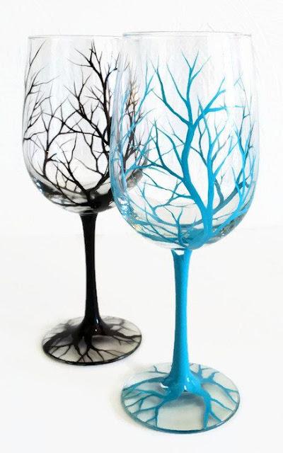 Black & Blue Trees hand-painted wine glasses DIY
