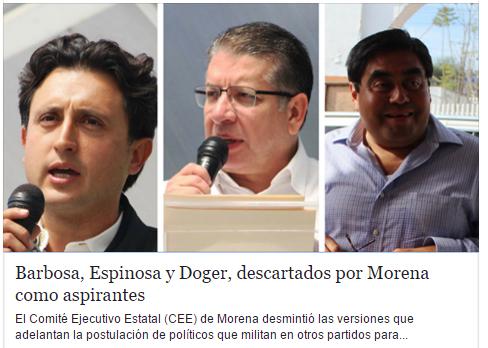 José Juan y Doger descartados por Morena