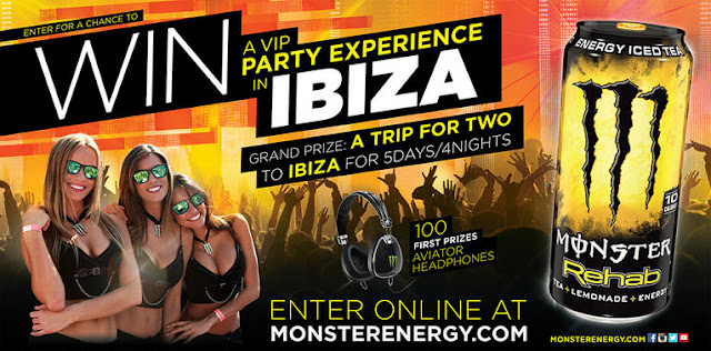 Monster Energy has your chance to enter once to win a FIVE DAY vacation to party like a VIP in Ibiza...