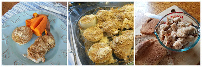 One pan dinner, Chicken and Onions with Rosemary, Toasted Crumbs and Parmesan Cheese.