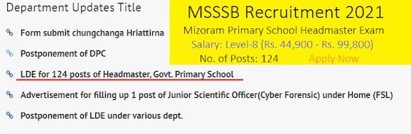 Mizoram MSSSB Recruitment 2021