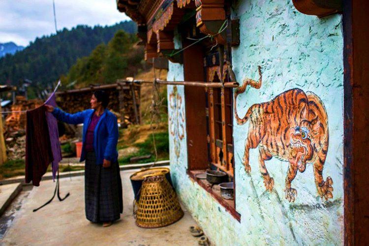 Bhutan Krallığı'ndaki evler genellikle kaplan, kuş, yılan ve benzeri hayvan figürleriyle süslenmektedir.