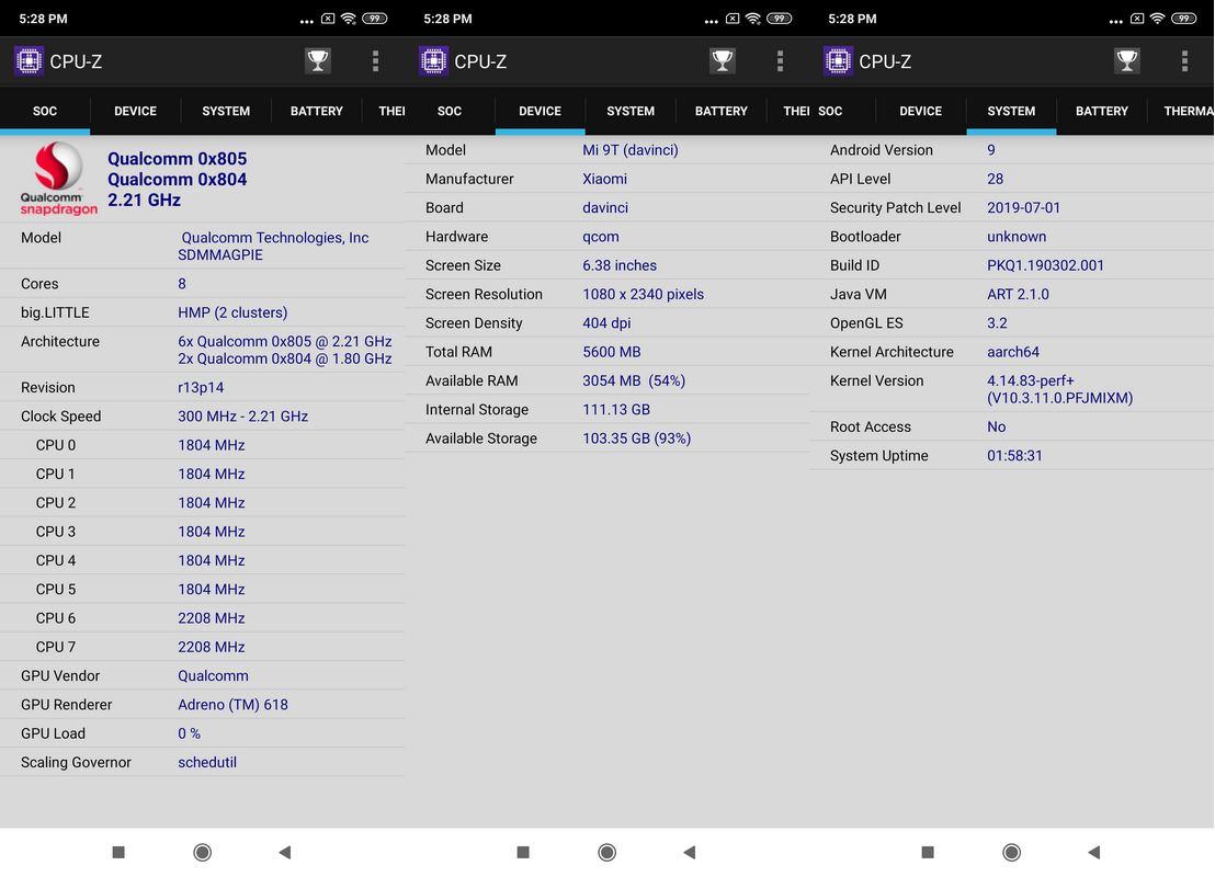 CPU-Z Xiaomi Mi 9T