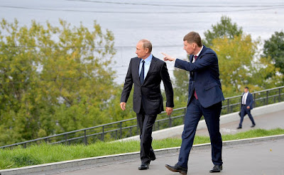 Vladimir Putin and Perm Territory Acting Governor Maxim Reshetnikov on the Kama river.