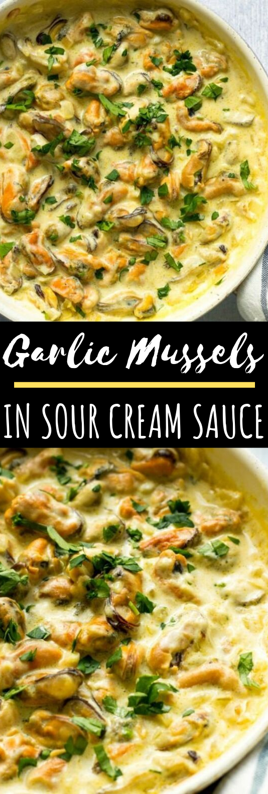 Garlic Mussels In Sour Cream Sauce #seafood #dinner