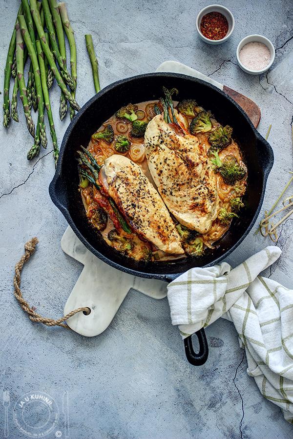 Piletina punjena šparglama, pečenicom i dimljenim sirom