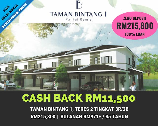 Rumah Teres 2 Tingkat di Taman Bintang 1, Pantai Remis Perak (Cash Back RM11,500)