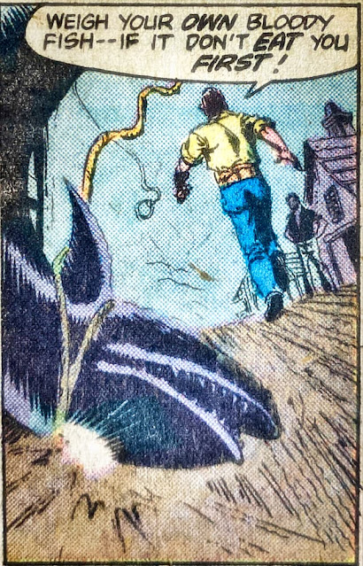 Marvel comic edition of Coffin cutting the shark loose