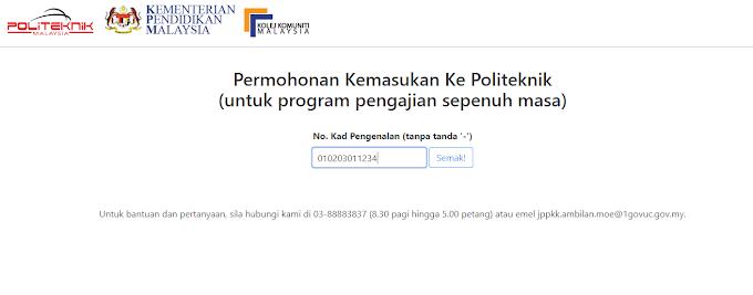 Permohonan Kemasukan Ke Politeknik Dan Kolej Komuniti Sesi Disember 2019