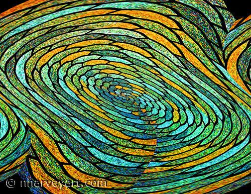 """Stained Glass Vortex"" abract photo edit blue green turquoise orange"