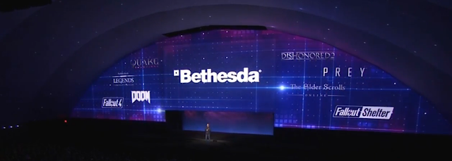 Bethesda BE3 E3 2016 all the games shown Fallout Prey Dishonored 2 The Elder Scrolls Online DOOM Quake