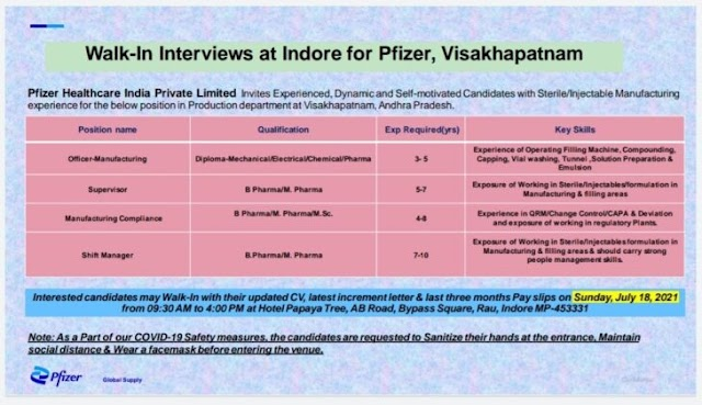 Pfizer Inc   Walk-in interview at Indore for Visakhapatnam plant on 18th July 2021