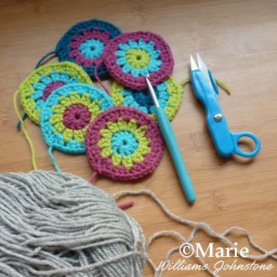 Circles and rounds of crochet in bright colors