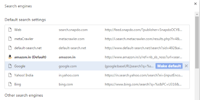 steps to make google my default search engine in chrome