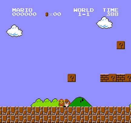 Screenshot of Mario dying at the very first Goomba
