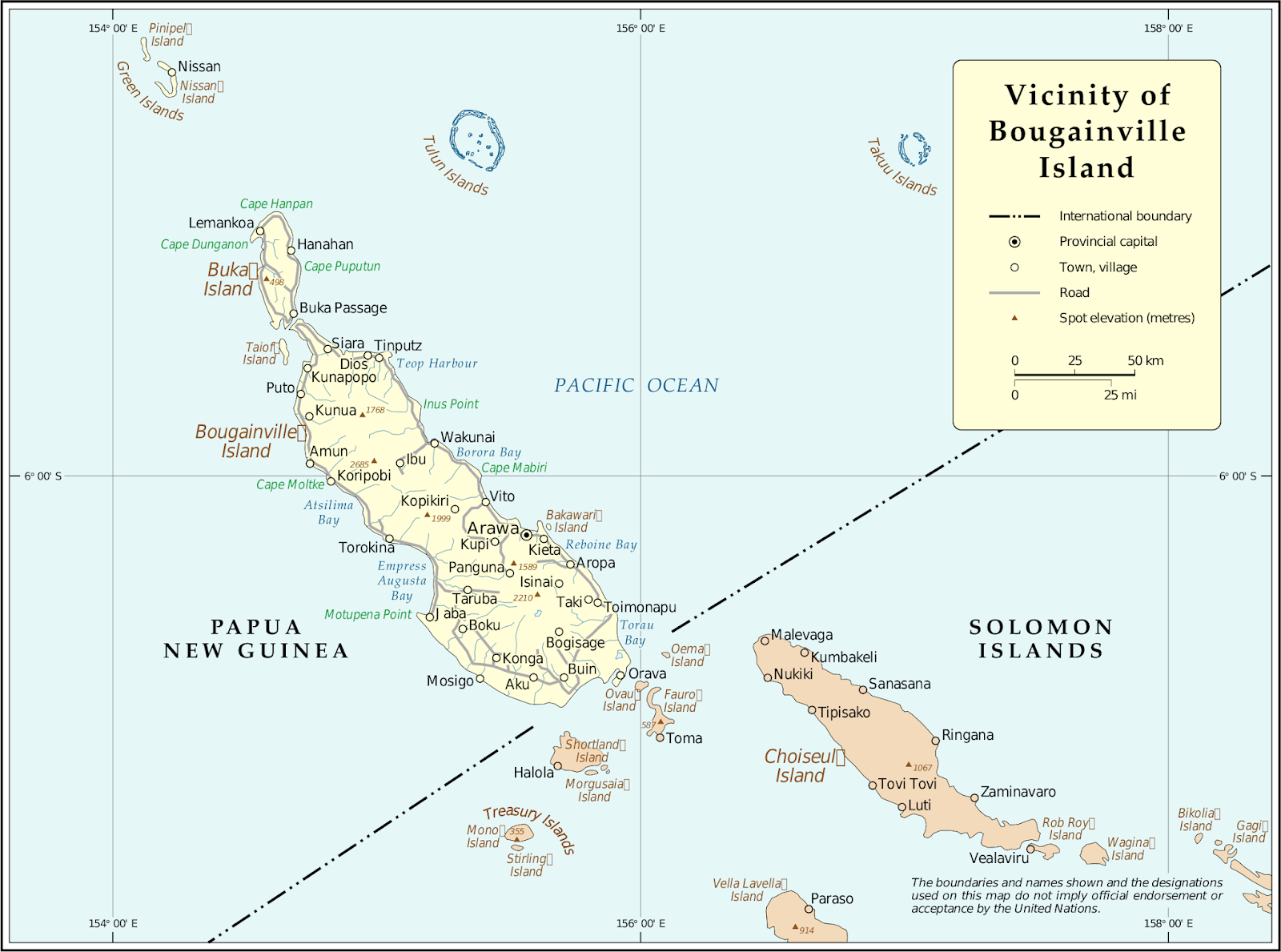Bougainville map, showing the island region's main geographical features and location related to the country of Solomon Islands