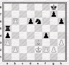 Posición de la partida de ajedrez Jonathan Penrose vs. Olaf Ulvestad en 1970, después de la jugada 46