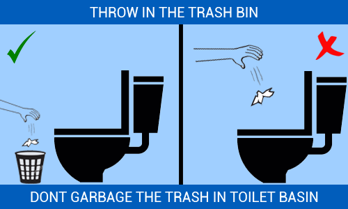 dont garbage toilet basins