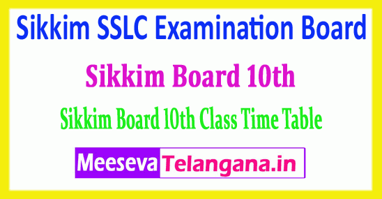 Sikkim SSLC 10th Time Table Sikkim 10th Examination Board Time Table