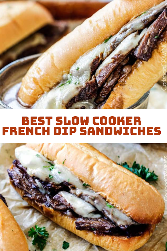 BEST SLOW COOKER FRENCH DIP SANDWICHES