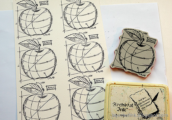 Layers of ink - Watercolor Apples Art Journal Tutorial by Anna-Karin Evaldsson. Stamp the apples.
