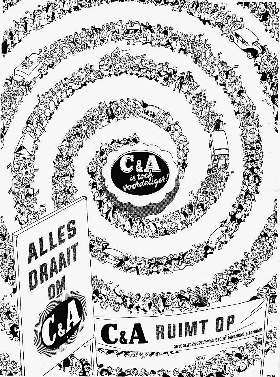 an advertising illustration by Eppo Doeve, C&A customers in a long spiral line
