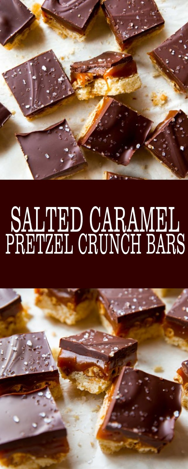 Salted Caramel Pretzel Crunch Bars #bars #caramel