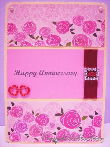 Happy Anniversary Card. happy anniversay, pink, handmade, floral, love