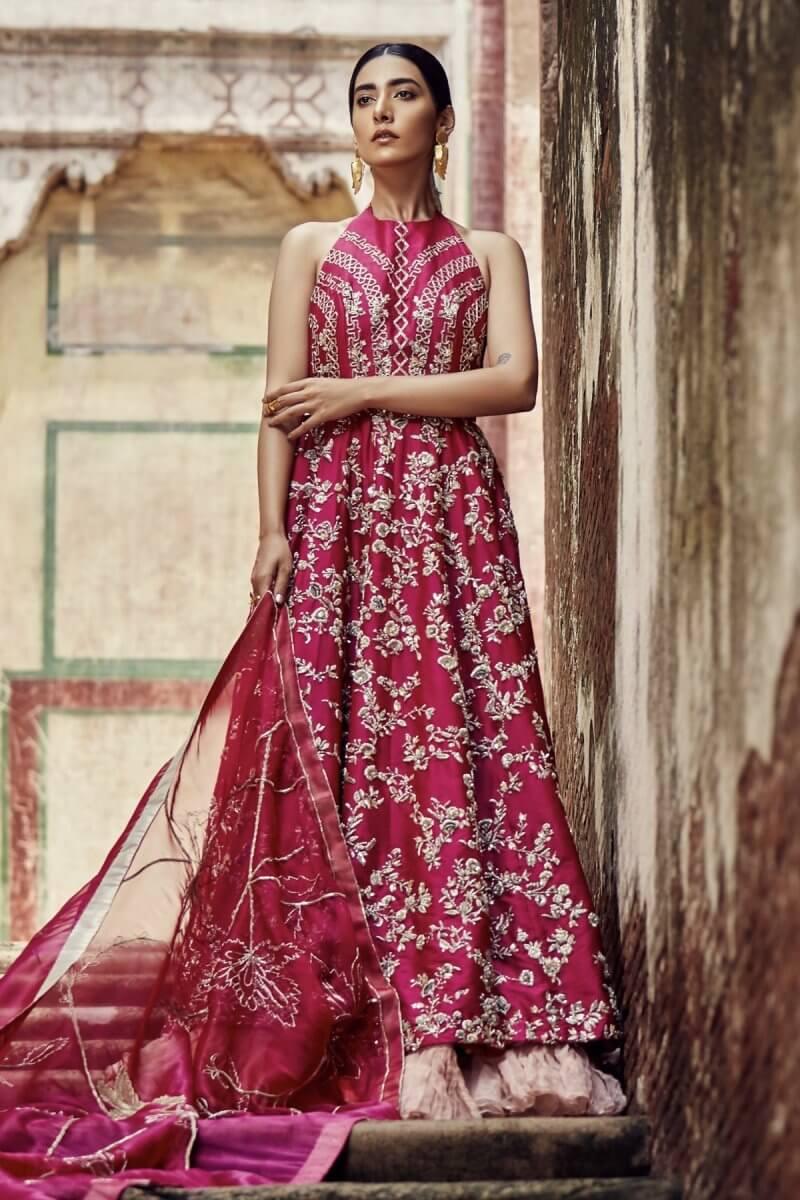 Hot pink wedding dress with flare shirt, lehnga and organza dupatta