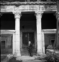 The Monastery of Agios Ioannis Stoudios (İmrahor Camii), April 1935.  A man standing in front of the vestibule of the Temple of the 5th century. The İmrahor Camii ceased to operate after the fire of 1920 [Credit: © Nicholas V. Artamonoff Collection, Image Collections and Fieldwork Archives, Dumbarton Oaks]