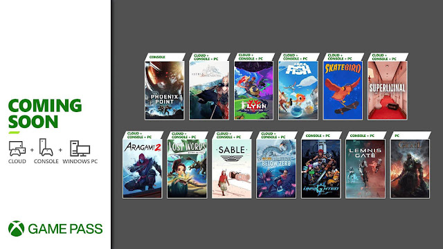 xbox game pass 2021 aragami 2 astria ascending flynn: son of crimson i am fish lemnis gate lost words: beyond the page phoenix point sable skatebird subnautica: below zero superluminal tainted grail: conquest unsighted xb1 xsx pc android