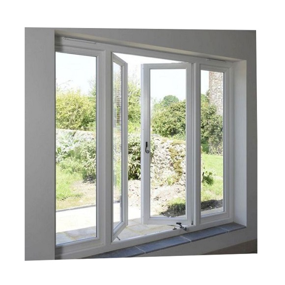 Jendela UPVC casement warna putih
